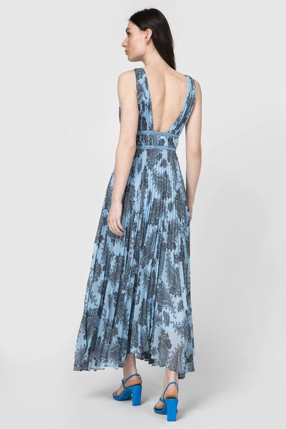 Женское голубое платье с принтом