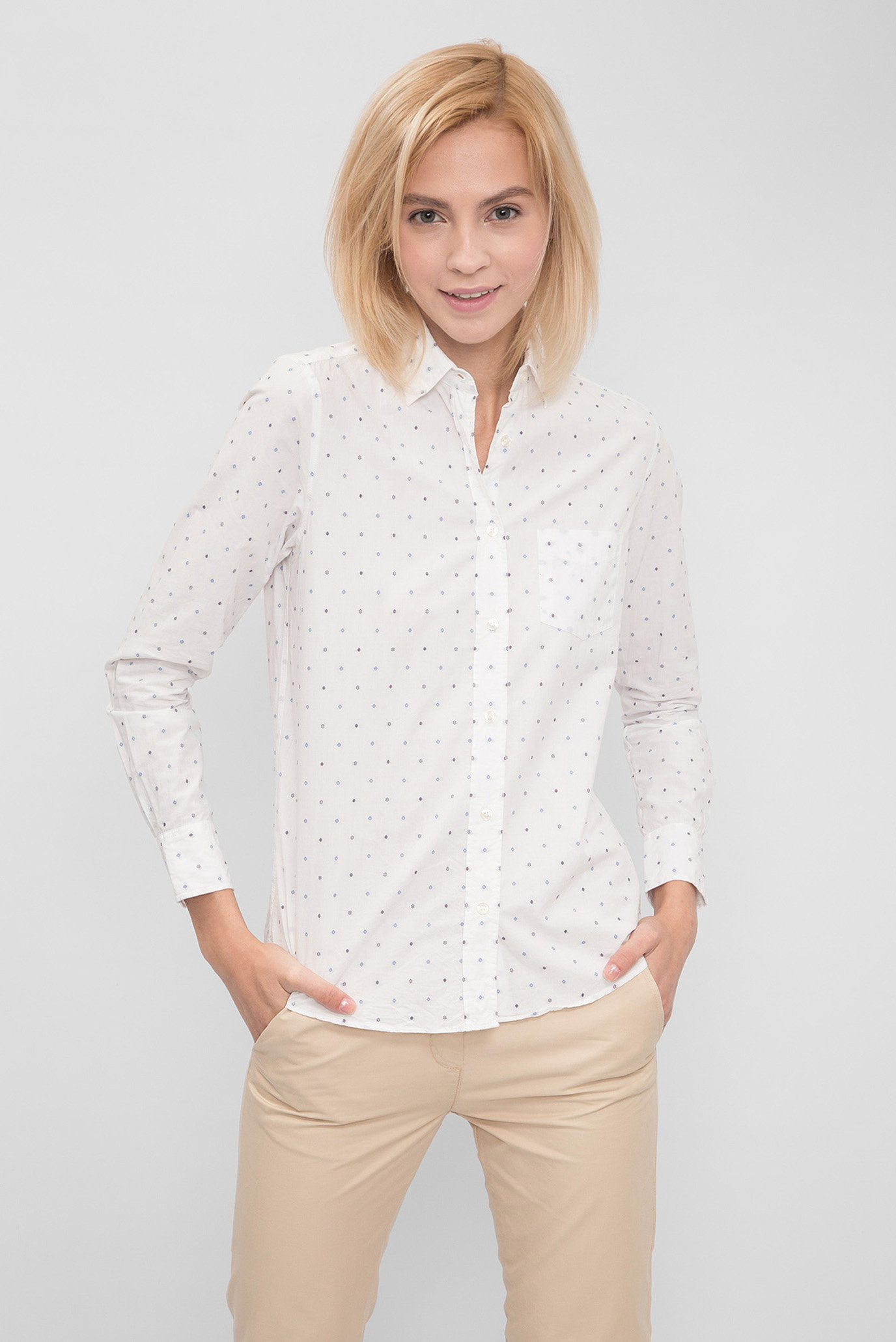 1eb988b988df817 Купить Женская белая рубашка с принтом Gant Gant 432447 – Киев, Украина.  Цены в интернет магазине MD Fashion