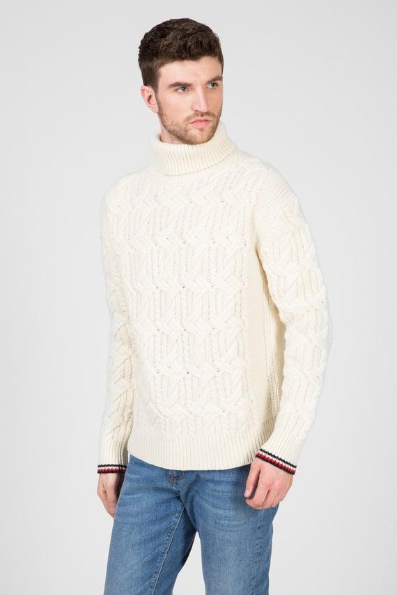 Мужской белый шерстяной свитер OVERSIZED TH MONOGRAM