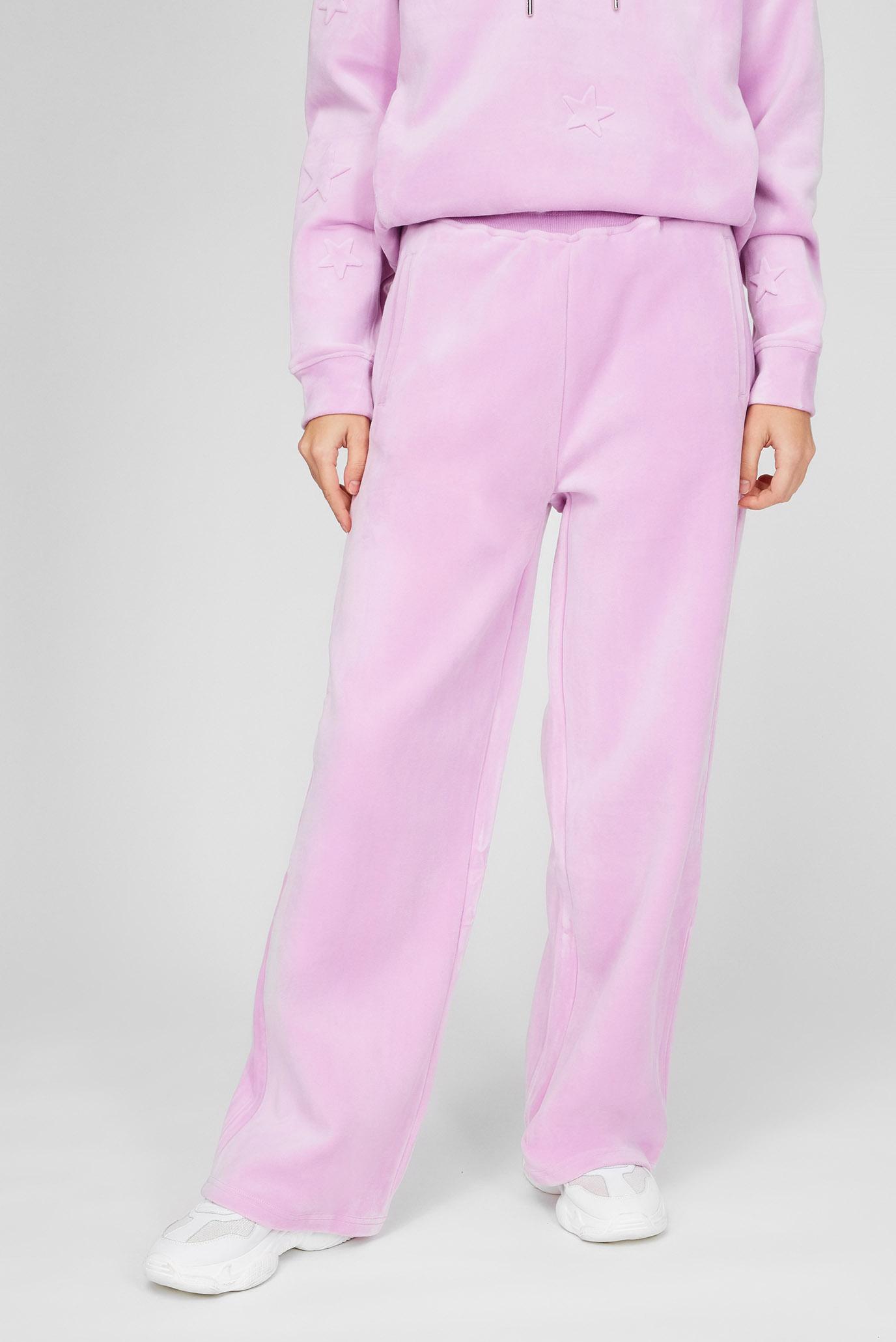 Женские розовые велюровые брюки 1