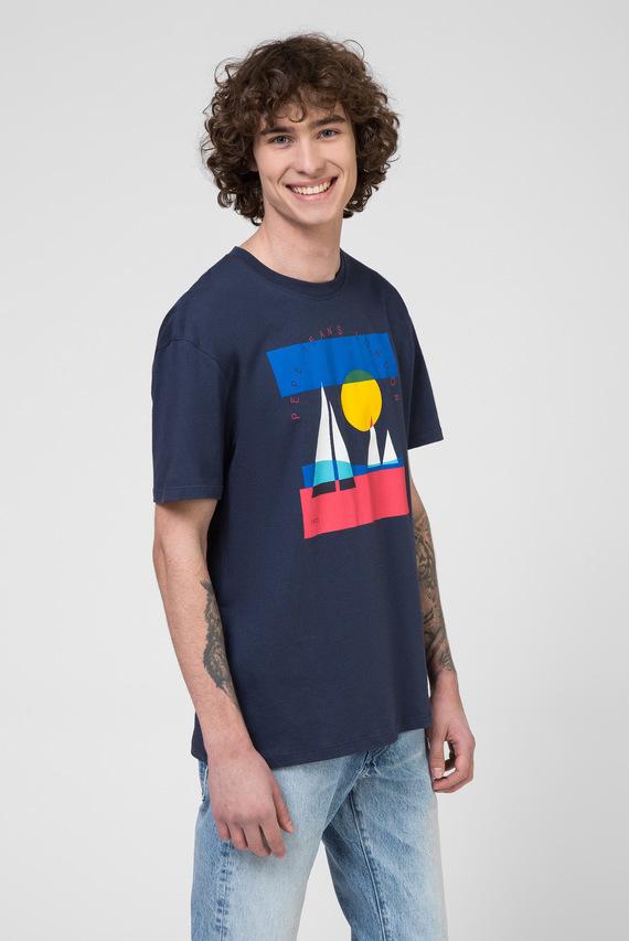Мужская темно-синяя футболка с принтом MONTANA