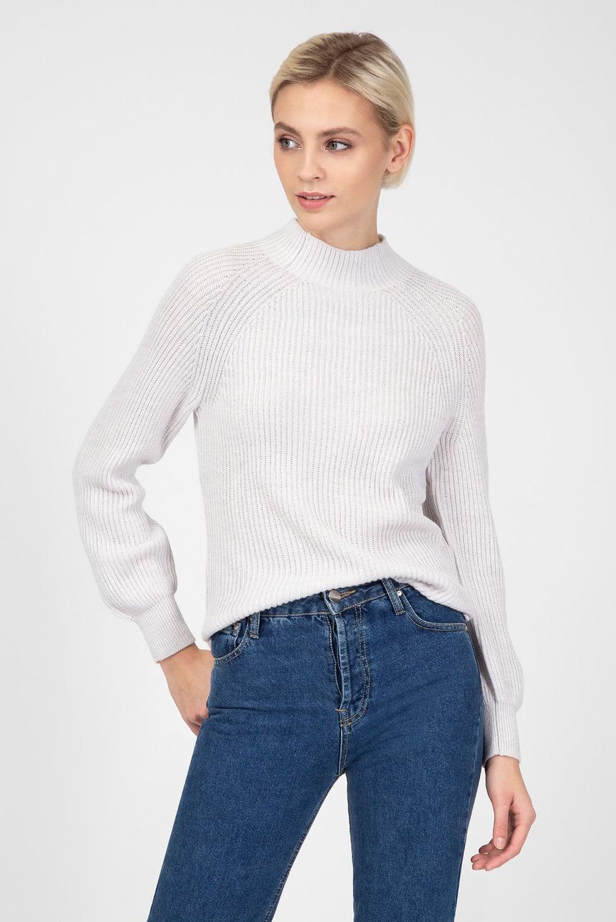 Женский светло-серый шерстяной свитер
