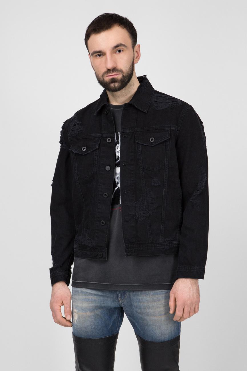 Мужская черная джинсовая куртка D-HILL