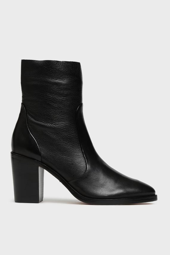 Женские черные кожаные ботильоны