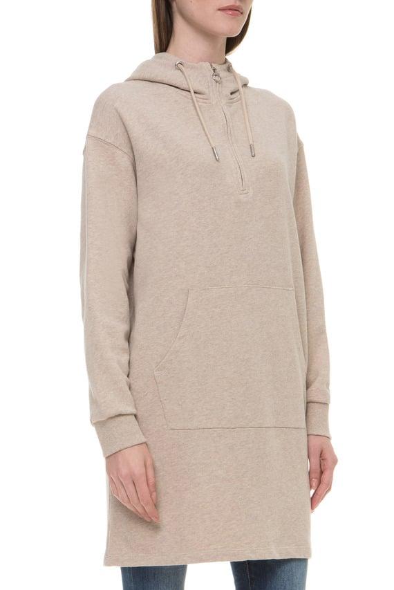 Женское бежевое платье-худи