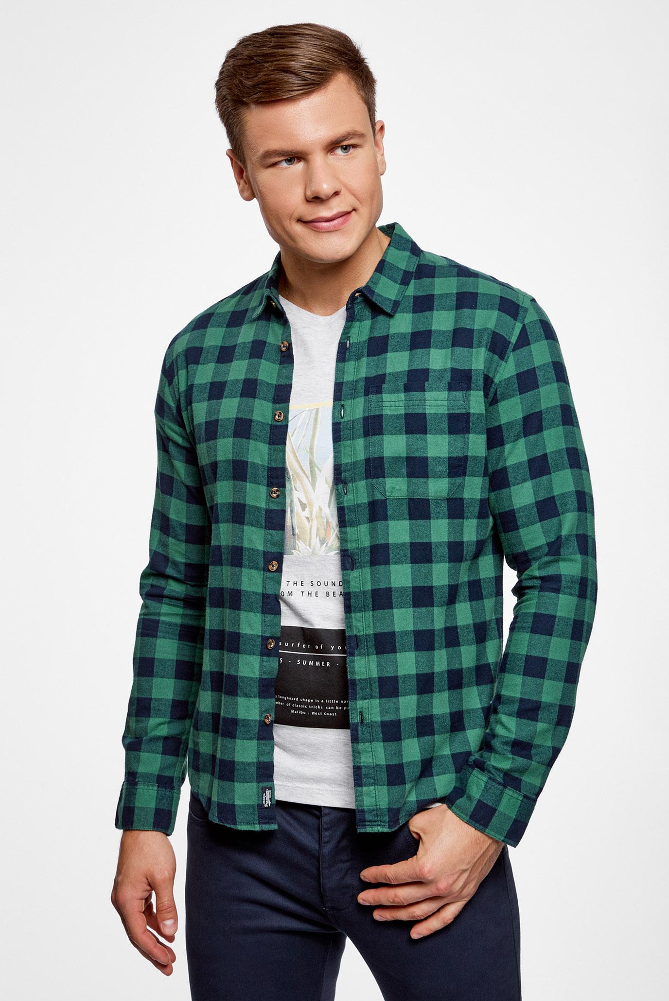 2f013f917a2 Купить Мужская зеленая рубашка в клетку Oodji Oodji 3L310150M 39882N 7962C  – Киев