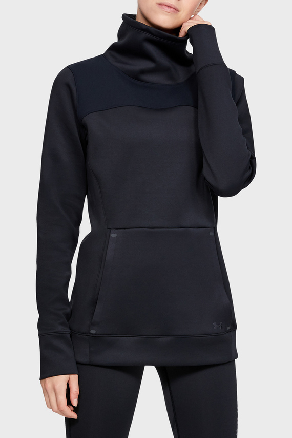 Женская черная спортивная кофта UA CG Armour Hybrid Pullover-BLK