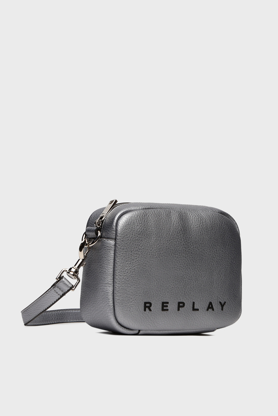 Женская серебристая сумка через плечо
