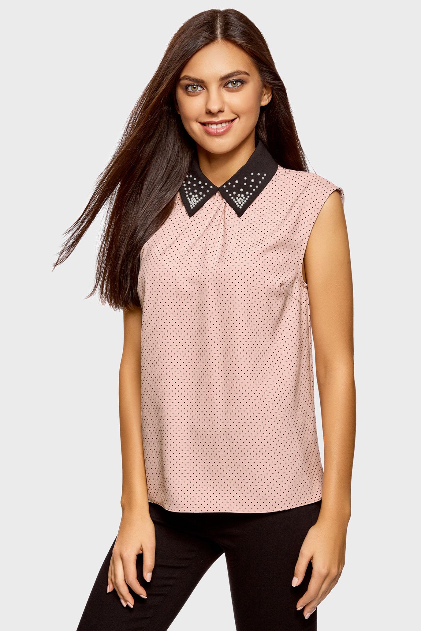 Женская розовая блуза без рукавов 1