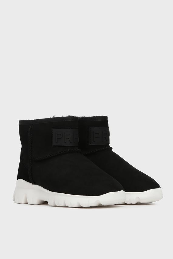 Женские черные замшевые ботинки Crow