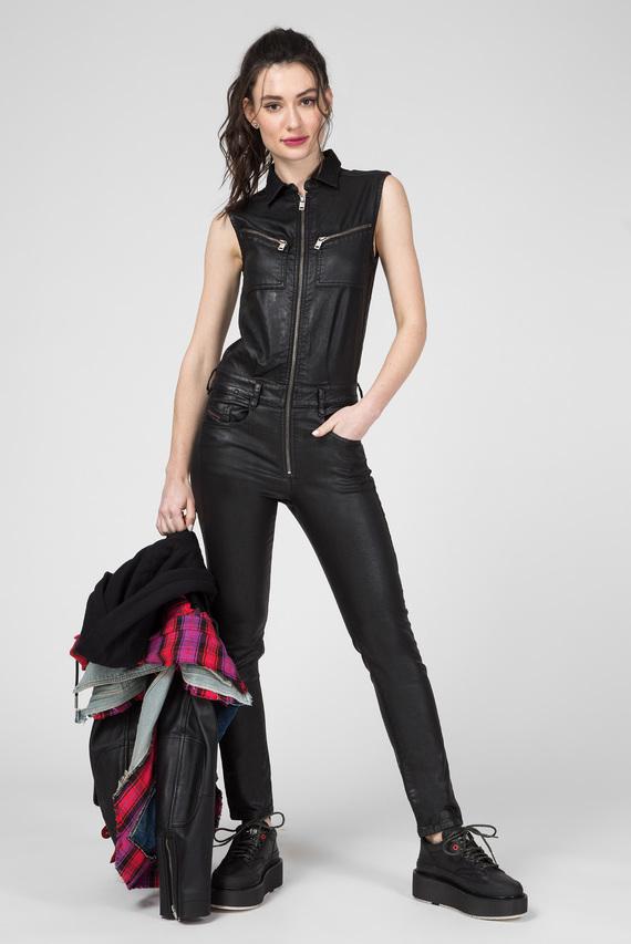 Женский черный джинсовый комбинезон D-GLYNNE-NE