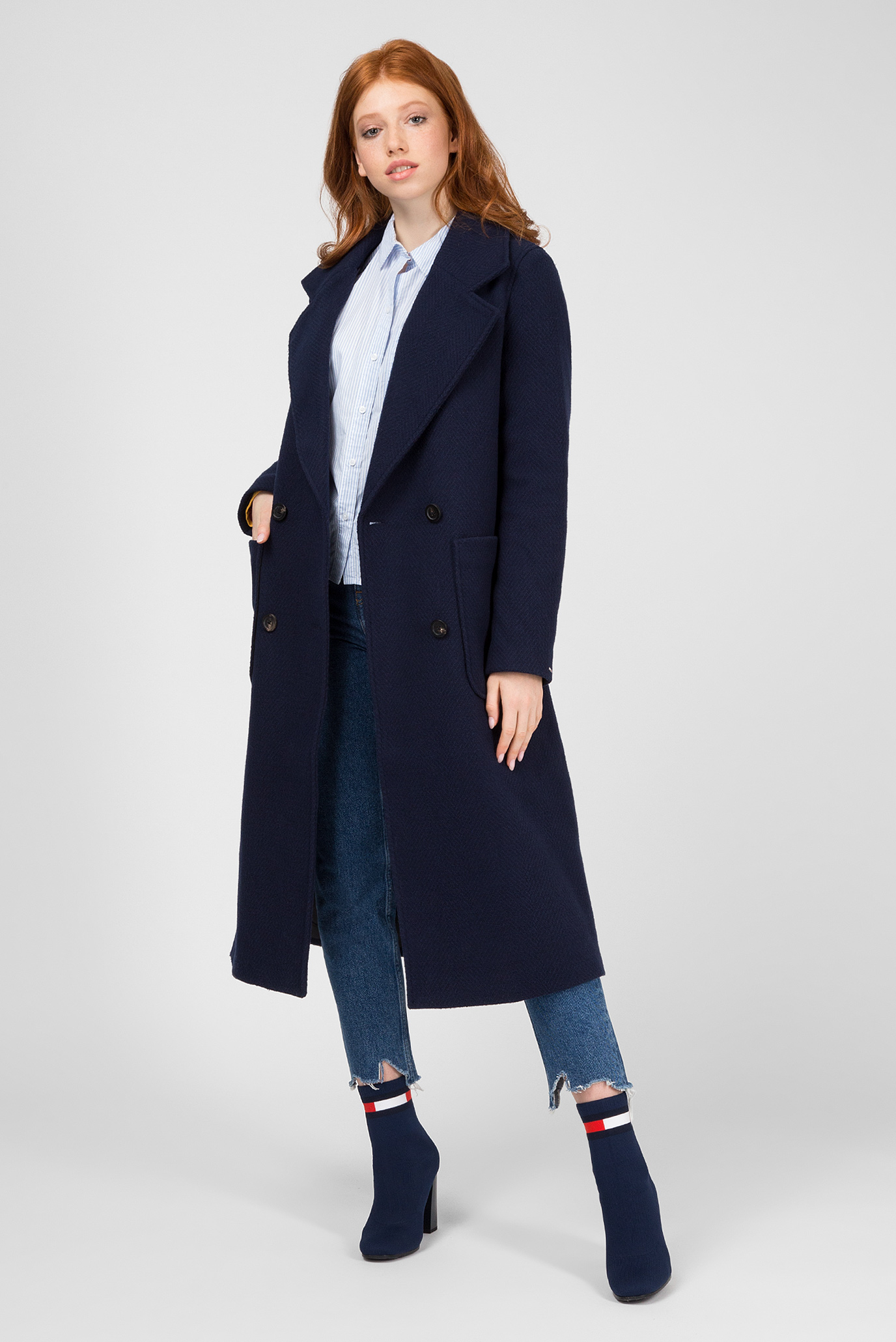 Купить Женское темно-синее пальто Tommy Hilfiger Tommy Hilfiger DW0DW05179 – Киев, Украина. Цены в интернет магазине MD Fashion