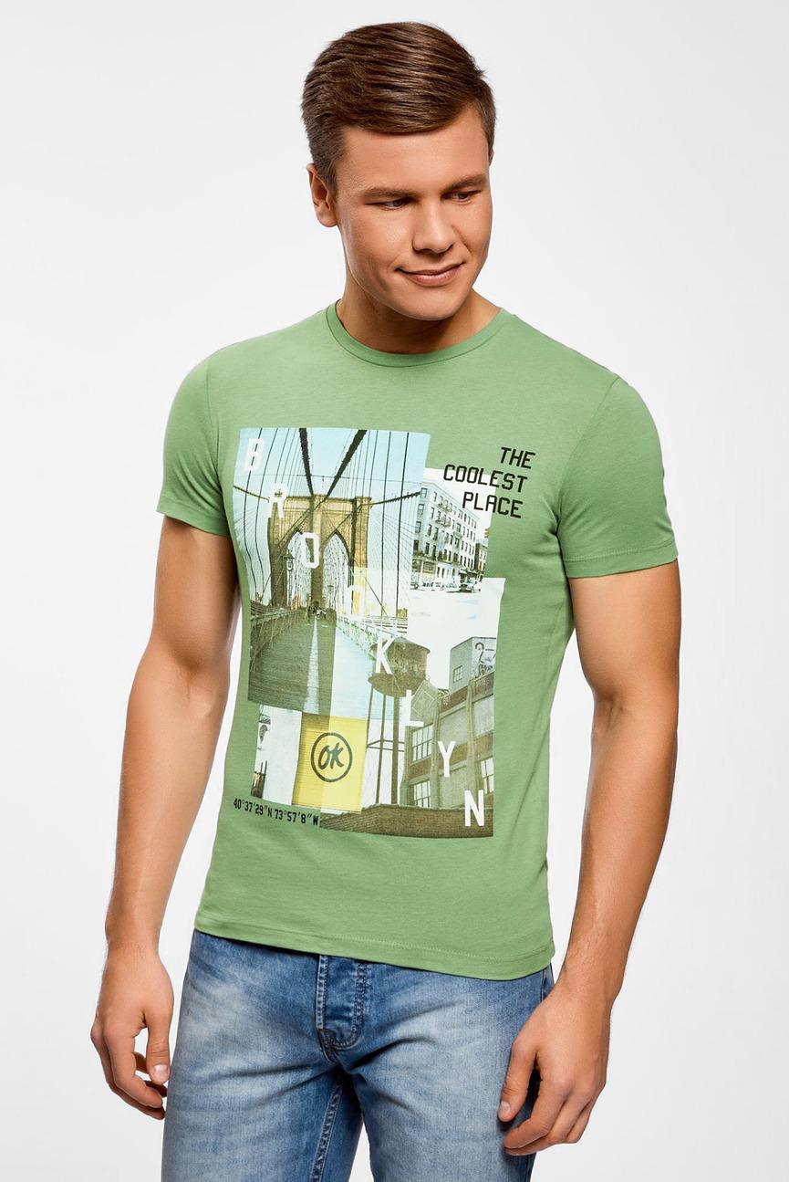 Мужская зеленая футболка с принтом
