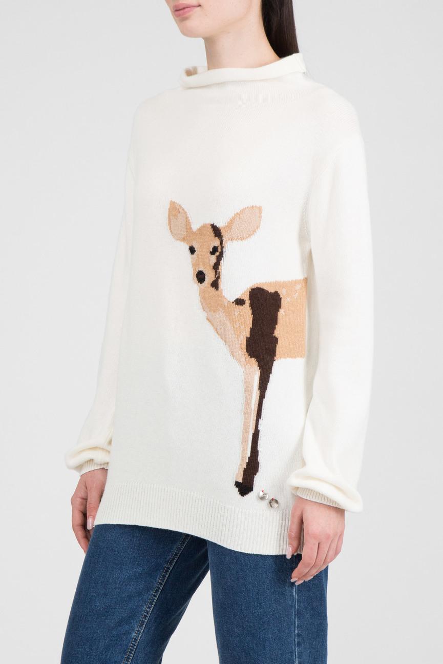 Женский белый свитер с узором