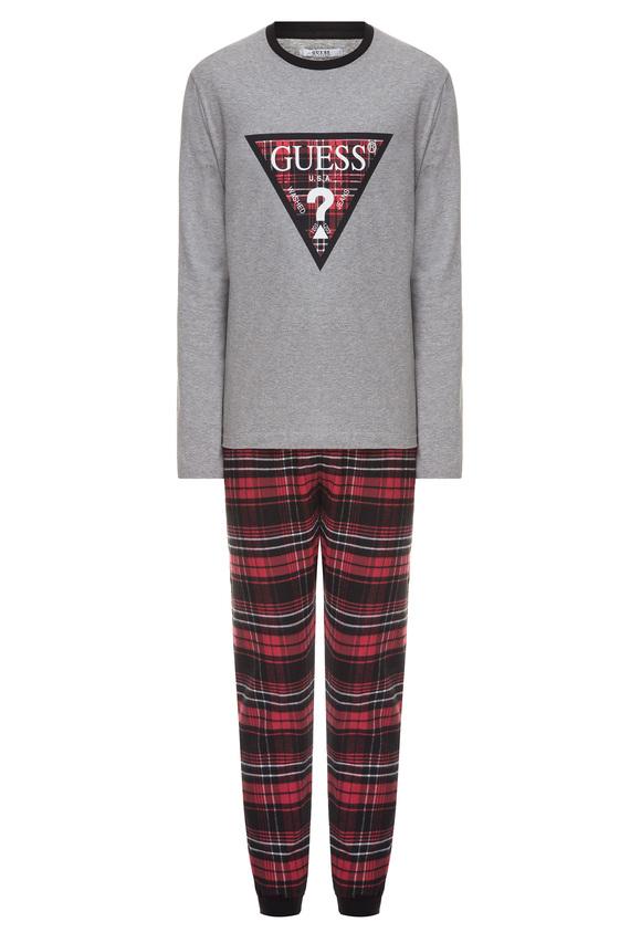 Мужская серая пижама (лонгслив, брюки)