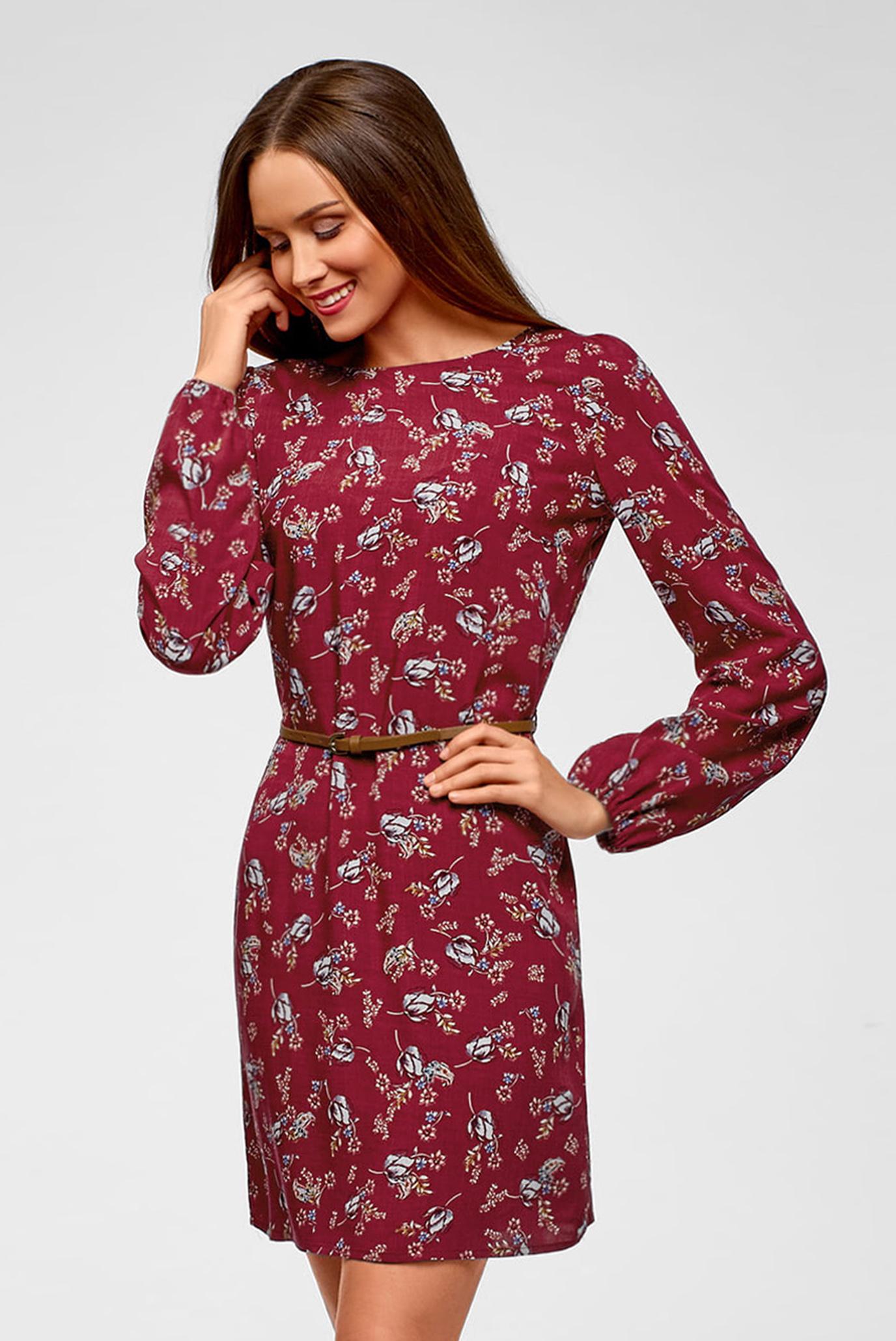 Женское красное платье с принтом Oodji