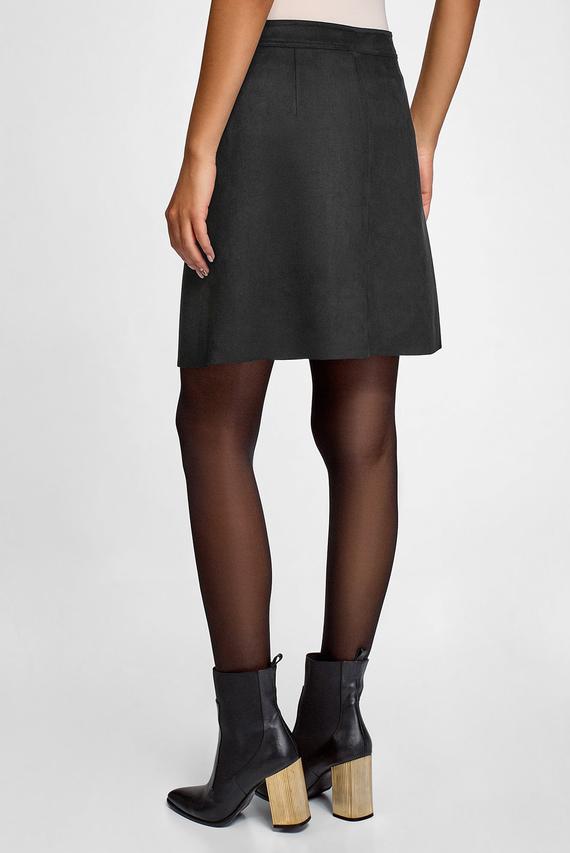Женская черная юбка из из искусственной замши