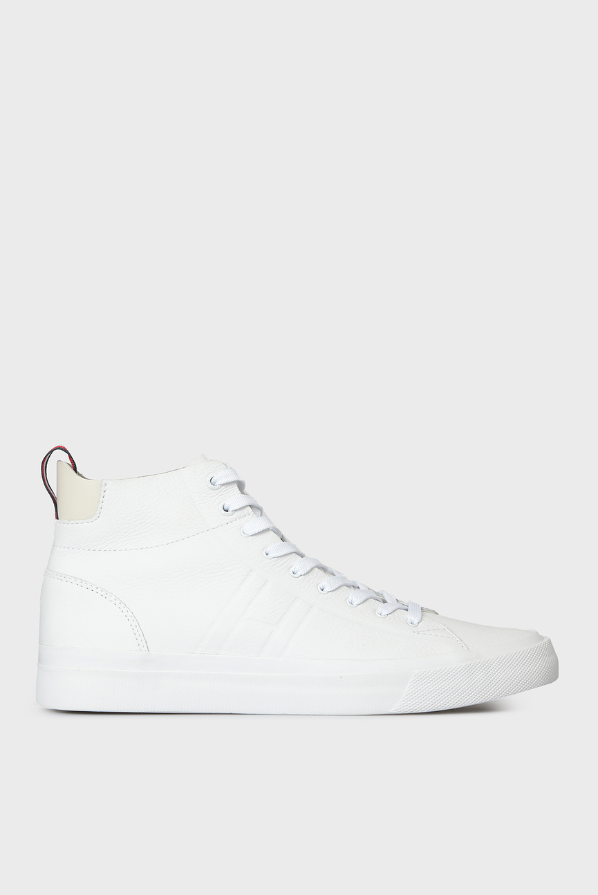 Мужские белые кожаные хайтопы
