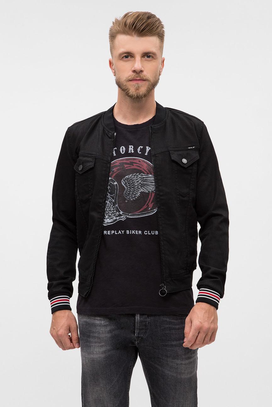 Мужской черный джинсовый бомбер