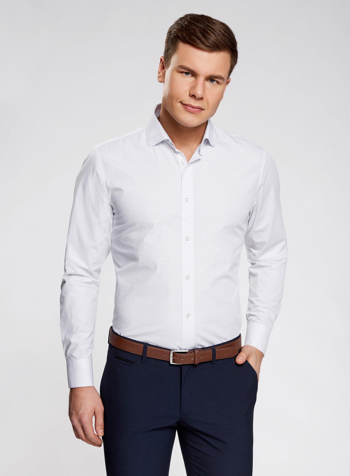5cb5a84bc8d Купить Мужская белая рубашка Oodji Oodji 3L110175M 19370N 1075G – Киев