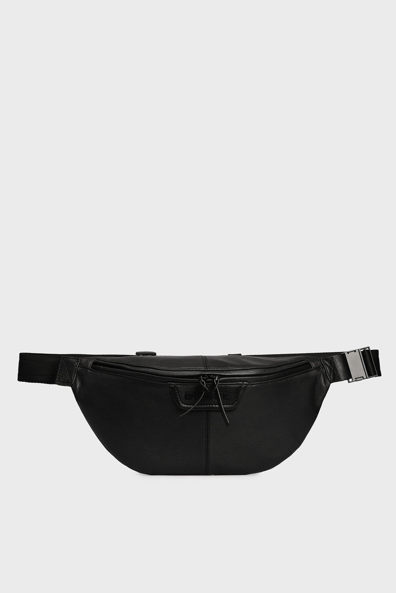 Мужская черная кожаная поясная сумка CLIN Diesel