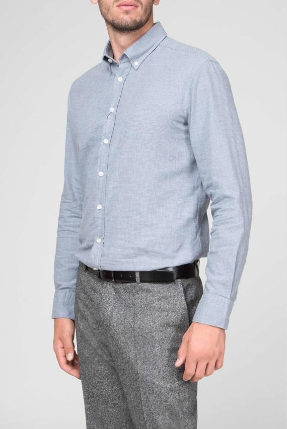 Мужская голубая рубашка BRUSHED FLA DOBBY