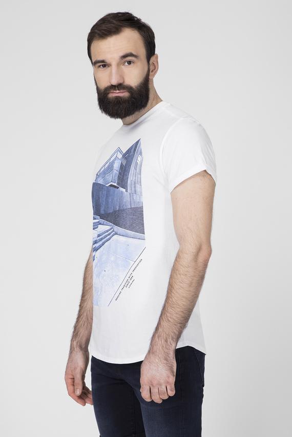 Мужская белая футболка с принтом Lash building