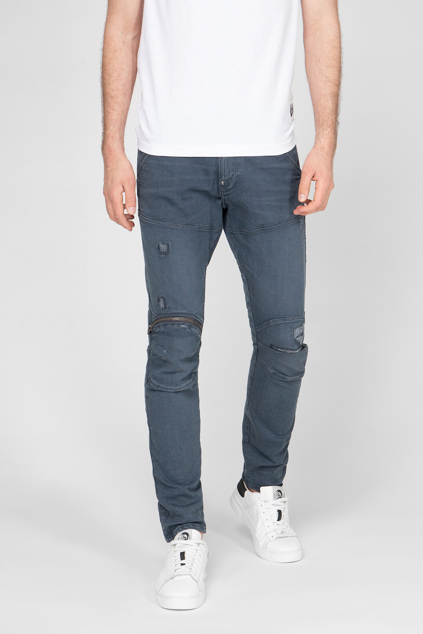 Чоловічі сірі джинси 5620 3D Zip Knee Skinny 1