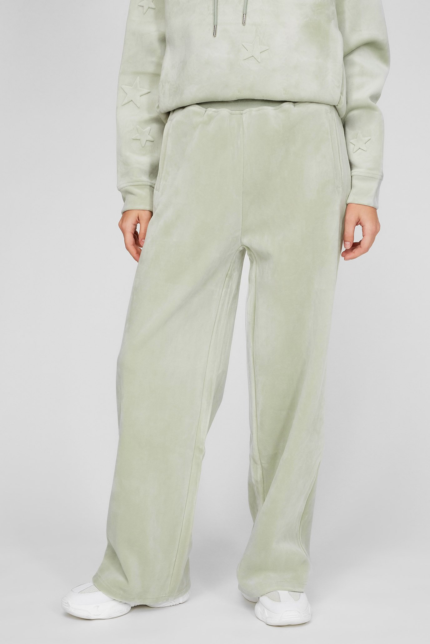 Женские зеленые велюровые брюки 1
