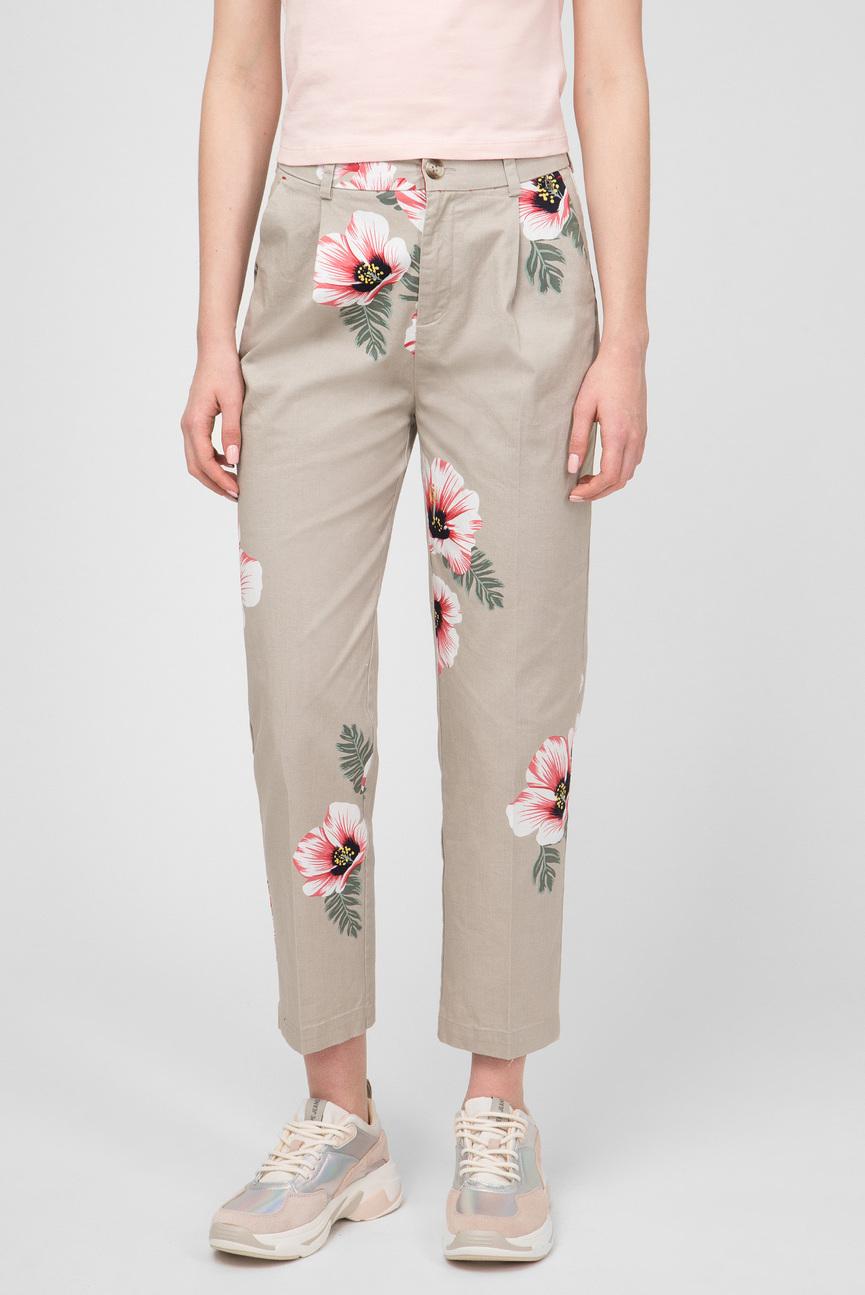 Женские бежевые брюки с принтом LUCY