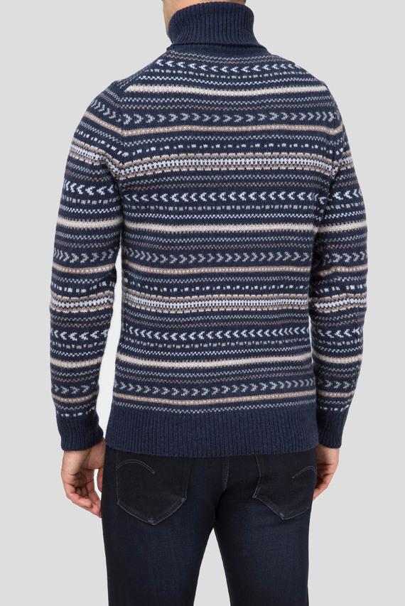Мужской темно-синий шерстяной свитер FAIRSELE ROLL NECK