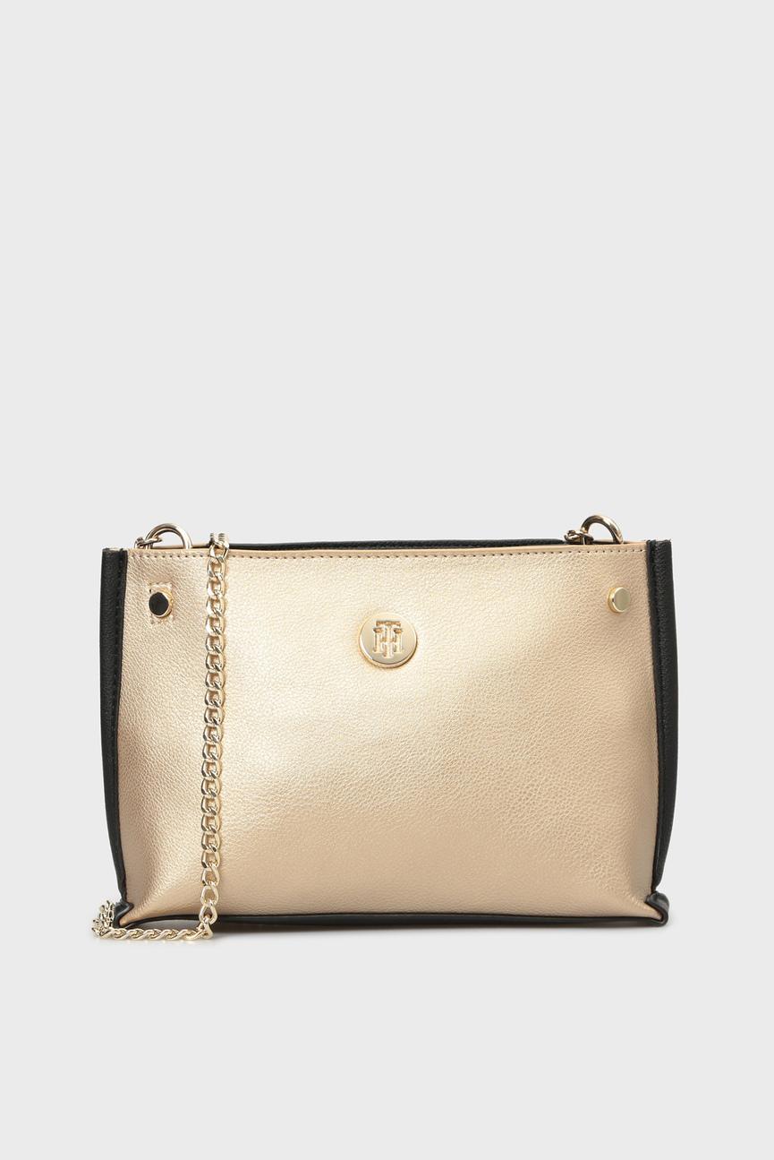 Женская золотистая сумка через плечо TOMMY CHAIN CROSSOVER