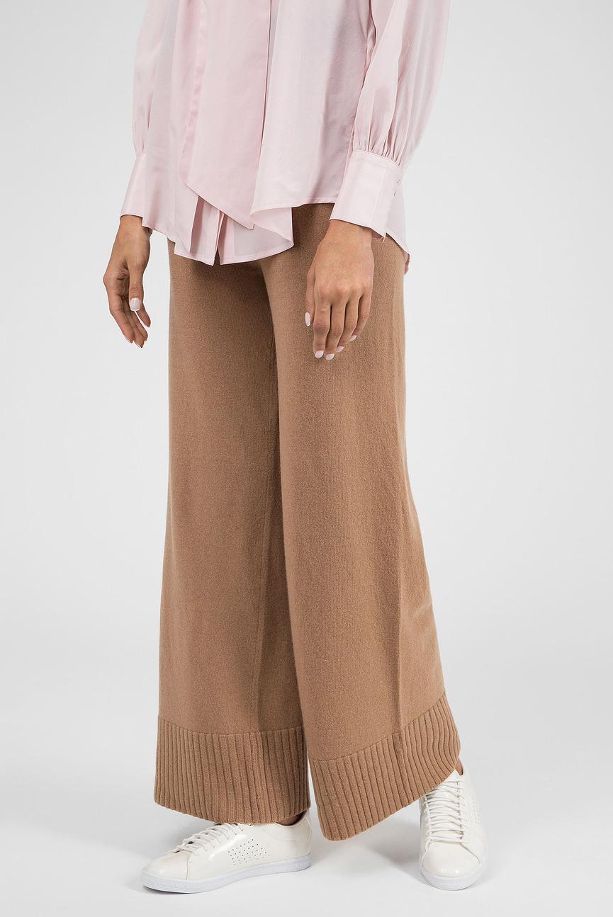 Женские коричневые шерстяные брюки