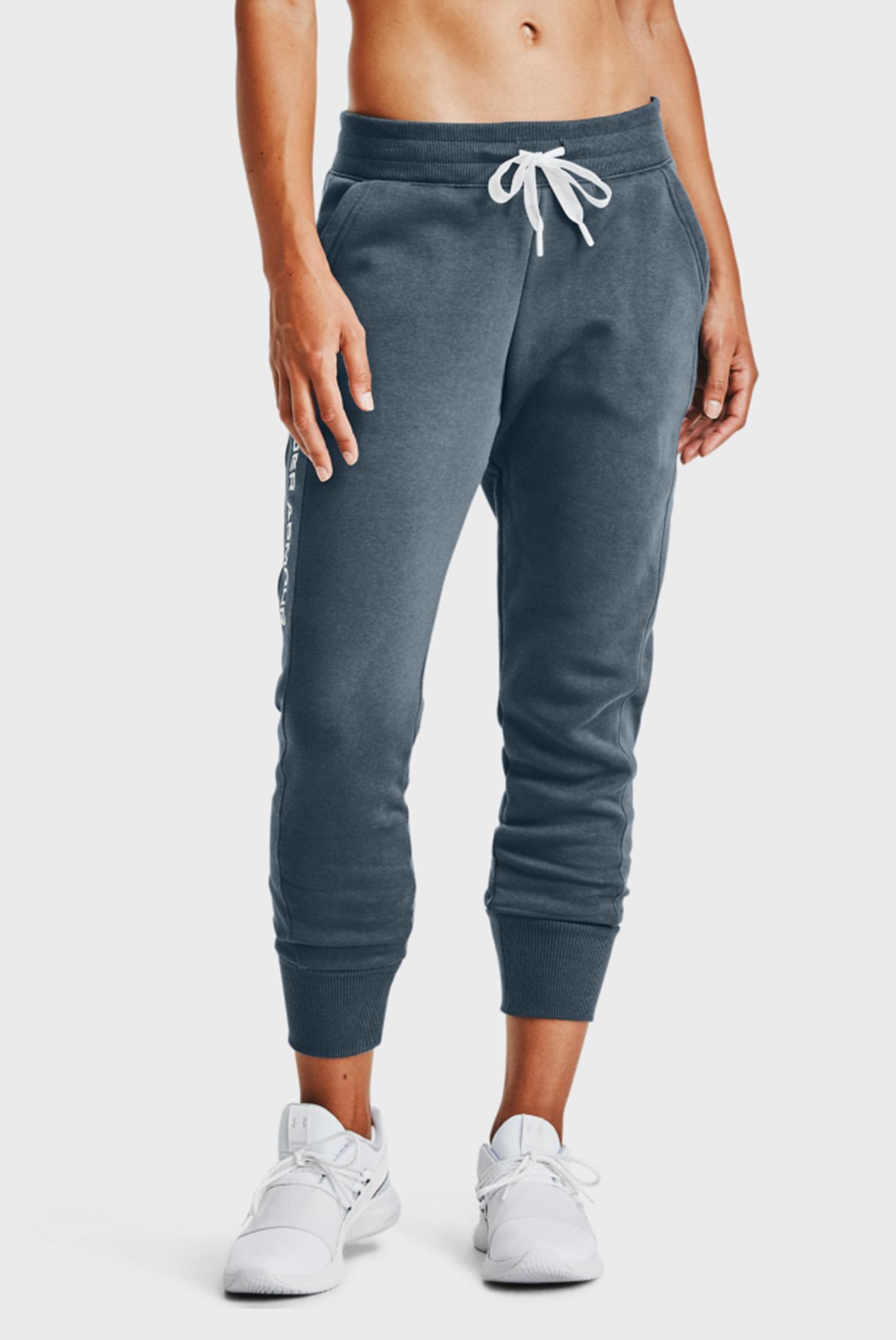 Жіночі сині спортивні штани UA Rival Fleece EMB Pant 1