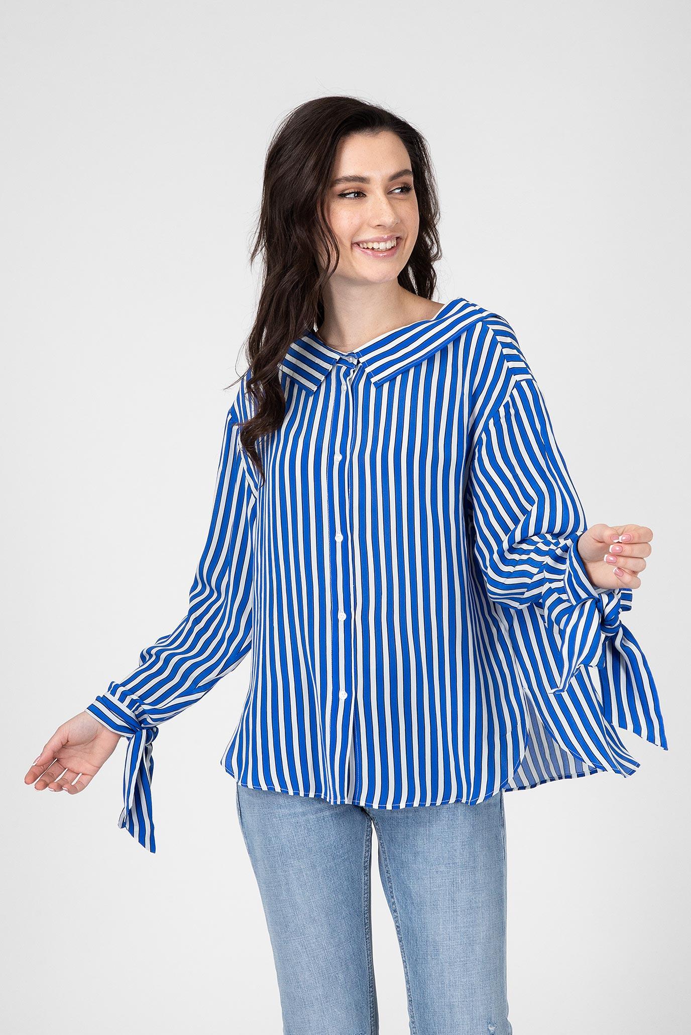 Женская синяя блуза в полоску 1