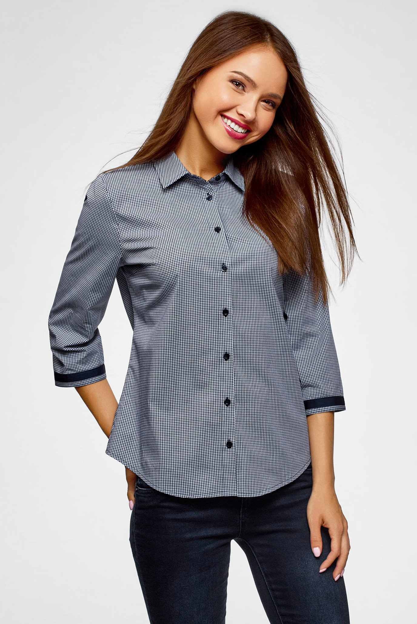 c6617029ca46 Купить Женская синяя рубашка в клетку Oodji Oodji 13L03003B/43346 ...