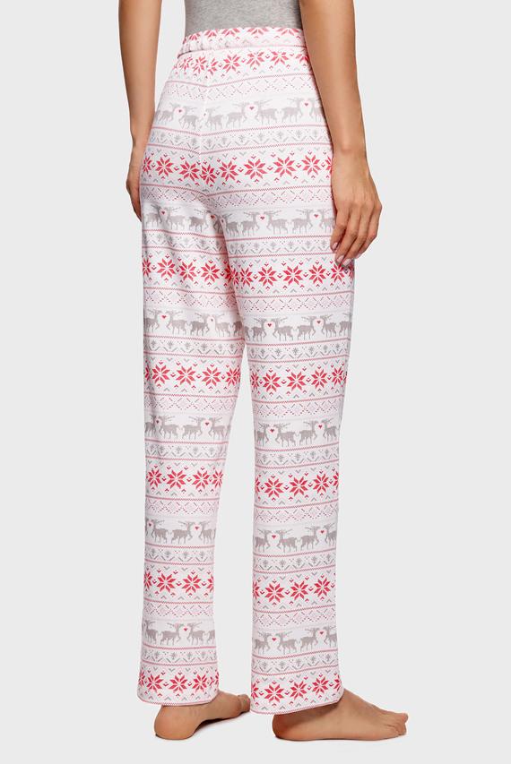 Женские розовые домашние брюки с принтом