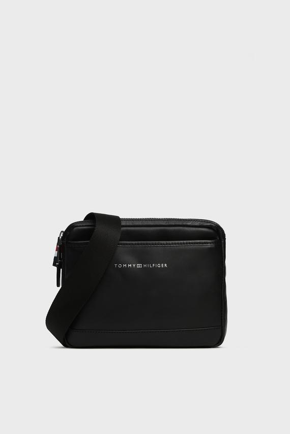 Мужская черная кожаная сумка через плечо CASUAL LEATHER