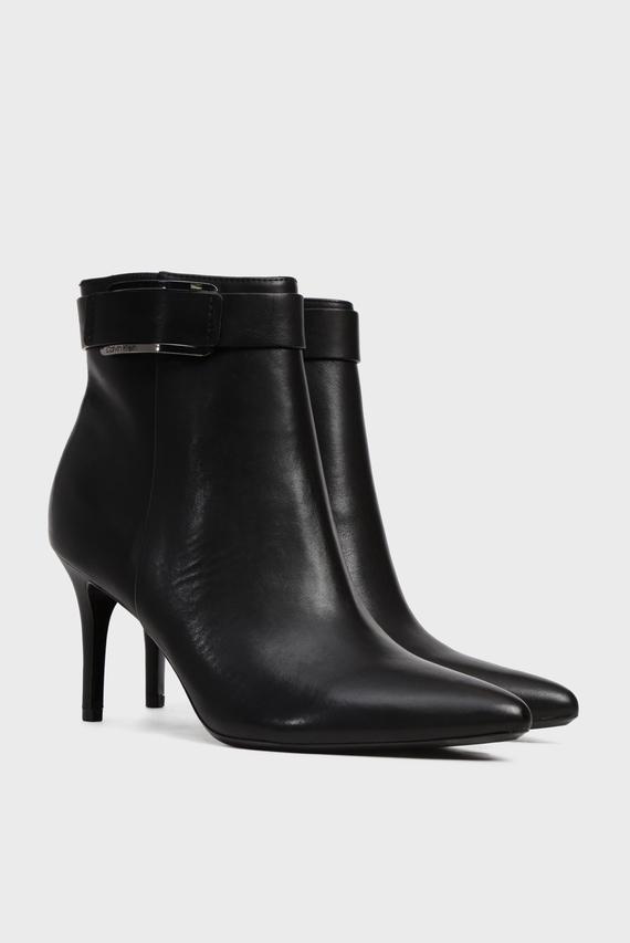 Женские черные кожаные ботильоны GITAR