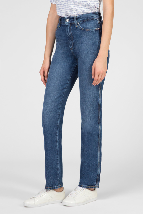 Женские синие джинсы STRAIGHT JEAN - MID BLUE