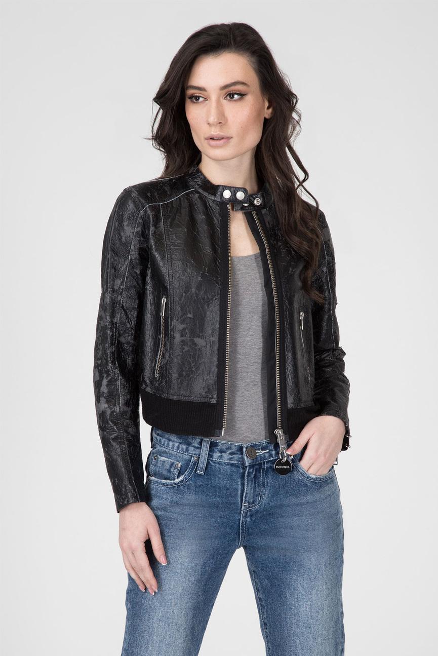 Женская черная кожаная куртка L-LYSSA-D