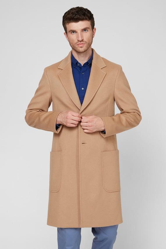 Мужское бежевое шерстяное пальто WOOL CASHMERE UNLINED LONG