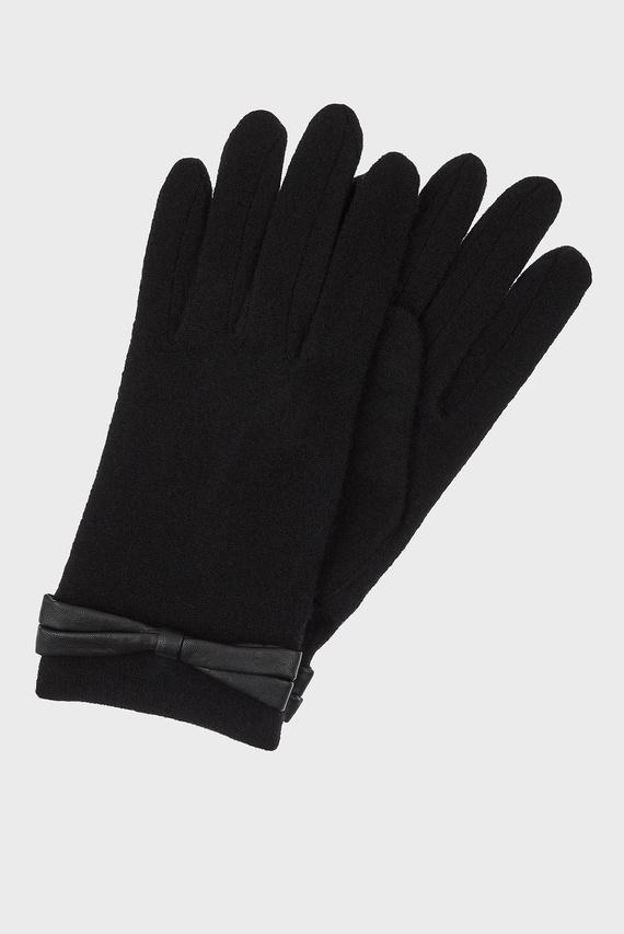 Женские черные перчатки WOOL GLOVE WITH BOW