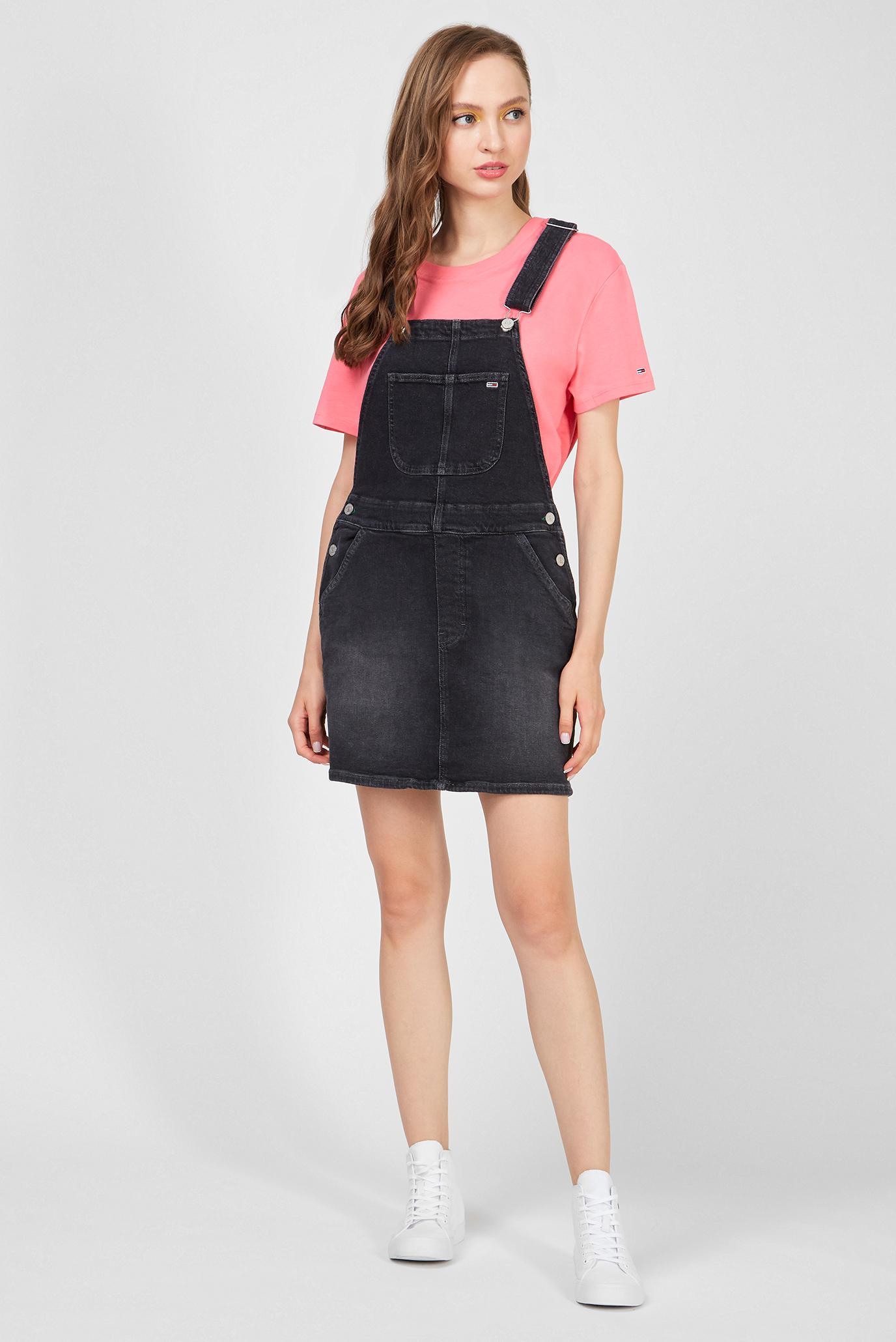 Женское черное джинсовое платье CLASSIC DUNGAREE Tommy Jeans