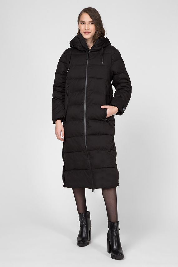 Женская черная удлиненная куртка CLEO