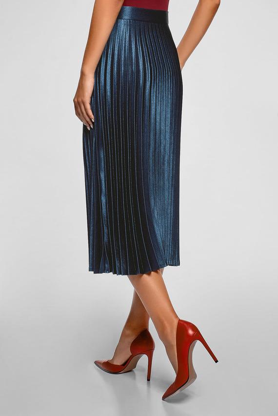 Женская синяя юбка-плиссе