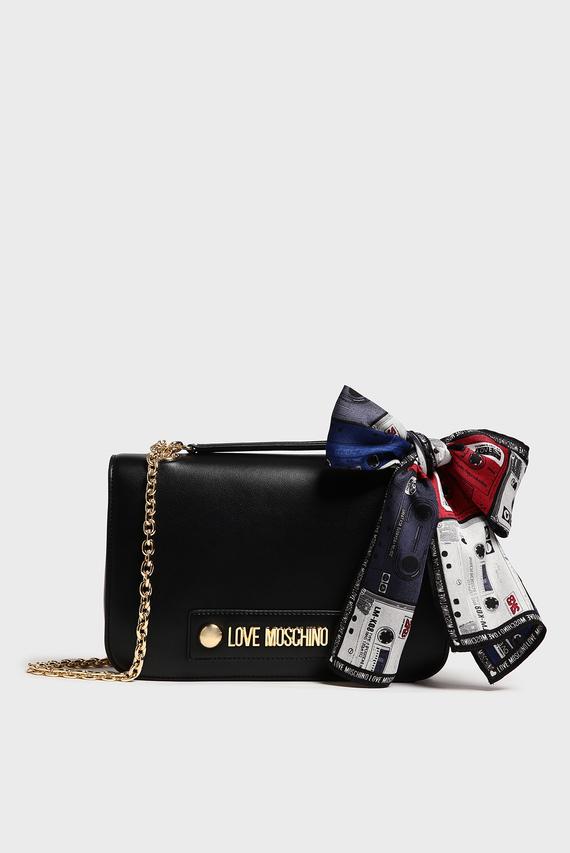 Женская черная сумка на плечо BORSA SMALL GRAIN