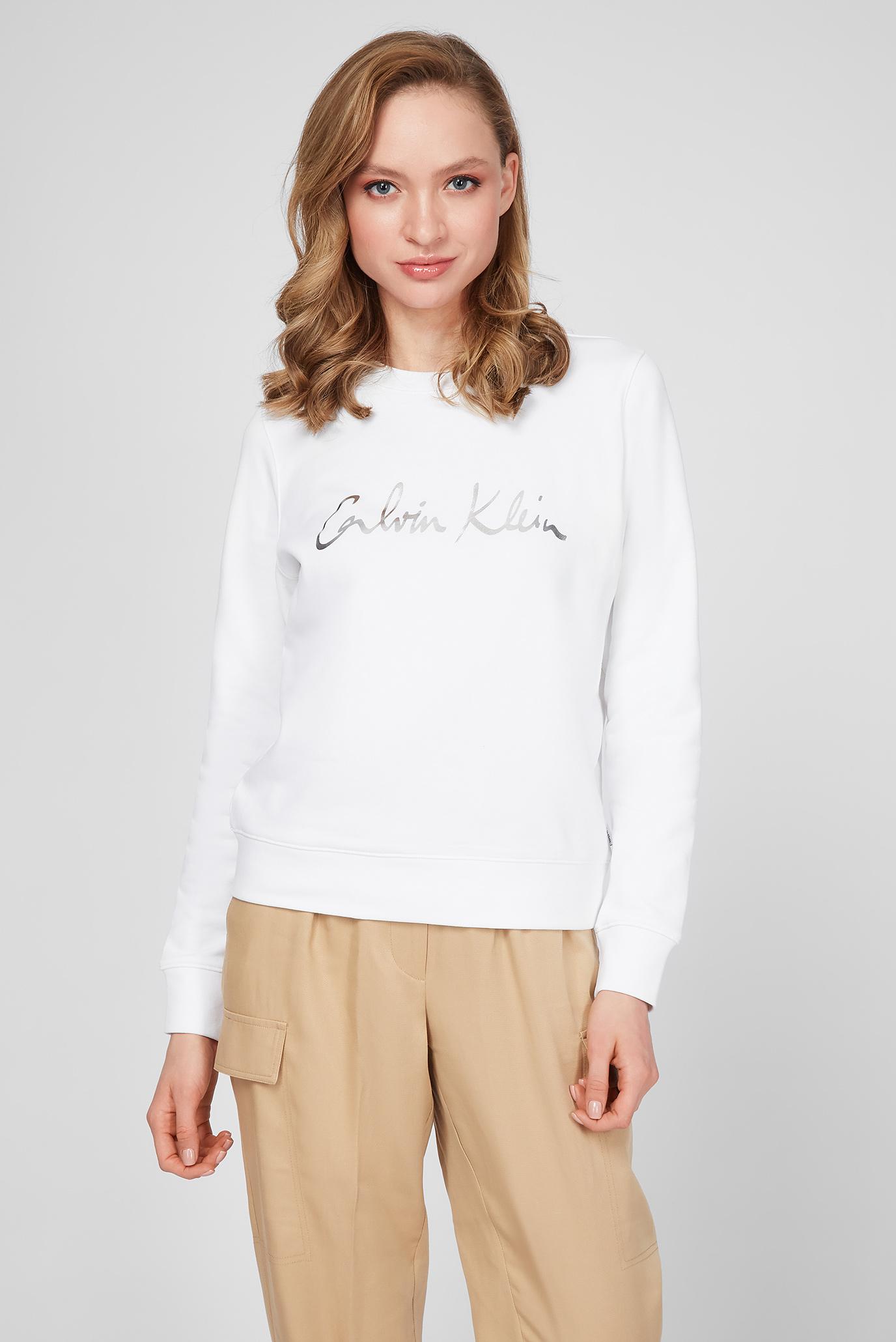 Женский белый свитшот SIGNATURE CALVIN 1