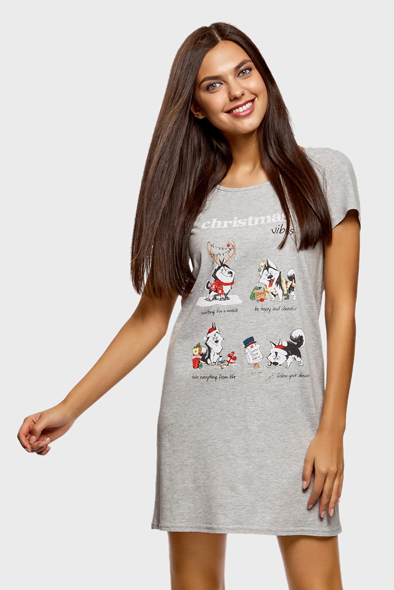 6c6d6b86cc75873 Купить Женская серая ночная рубашка Oodji Oodji 59801006-11/47516/2019Z –  Киев, Украина. Цены в интернет ...