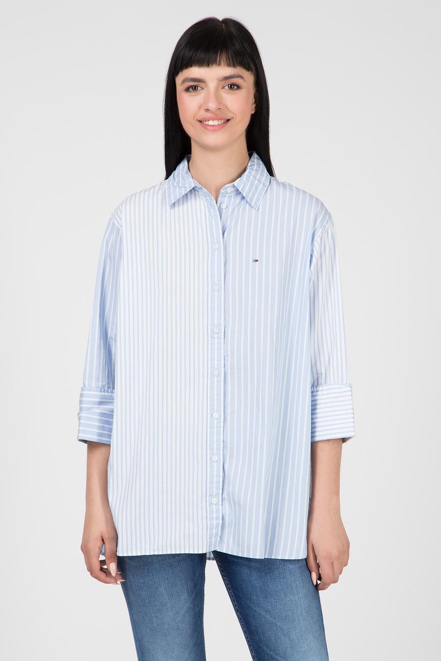 Женская голубая рубашка в полоску TJW CONTRAST STRIPE